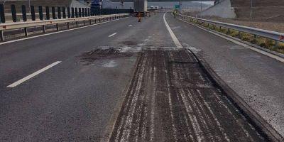 FOTO Au inceput reparatiile pe Autostrada Orastie - Sibiu. Sute de gropi au impanzit carosabilul, pe lotul cu cele mai mari probleme